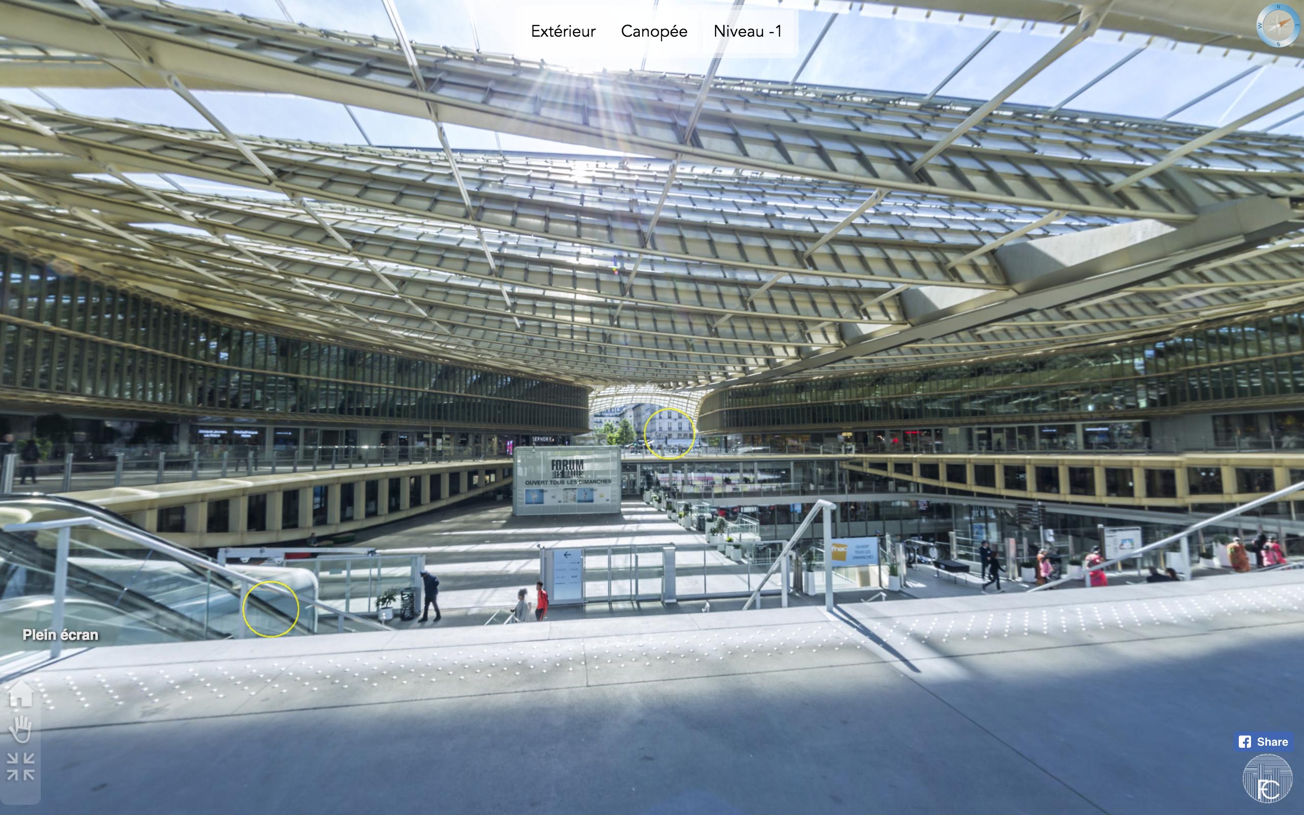 Visite virtuelle de la Canopée, Forum des Halles