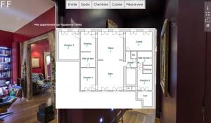 Un menu de visite virtuelle avec plan de l'appartement