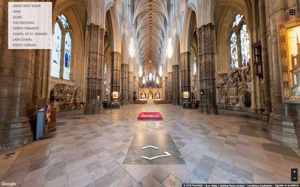 Visite virtuelle de l'abbaye de Westminster
